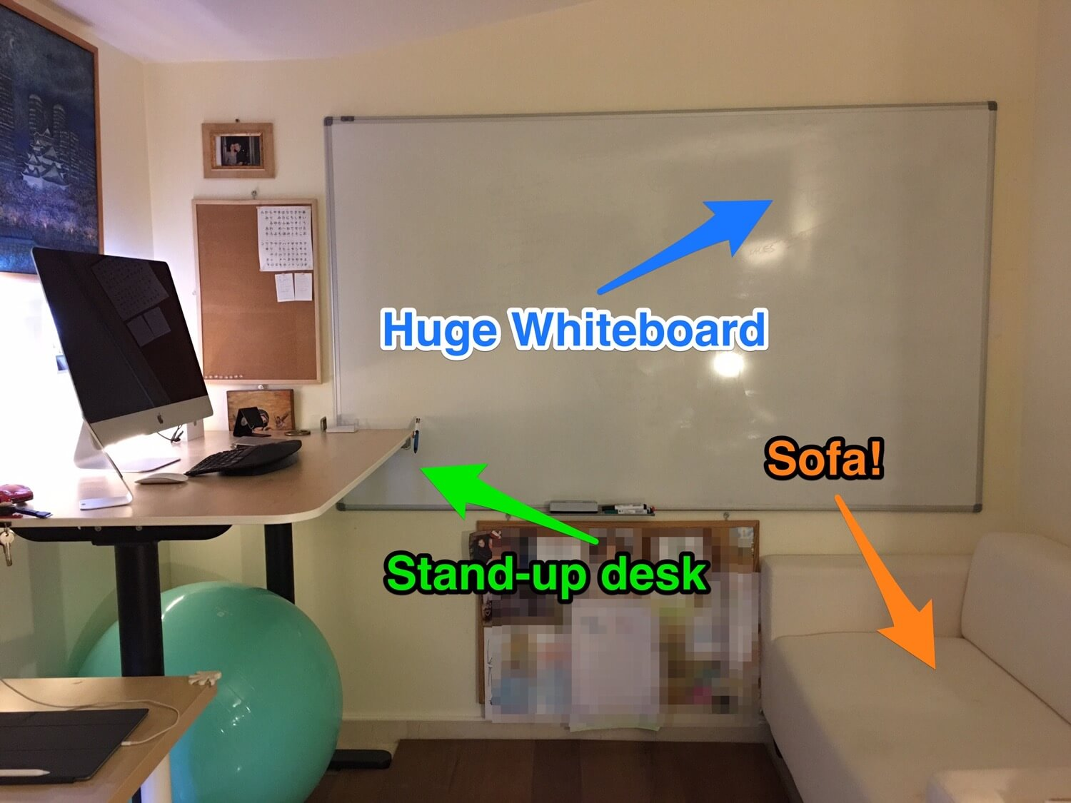 My Home Office 2016: whiteboard, stand-up desk, chill-out sofa and less stuff
