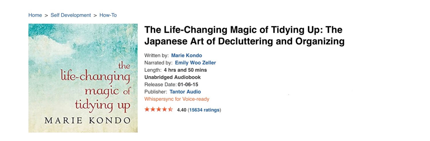 The Life-Changing Magic of Tidying Up - (audio) book of the week