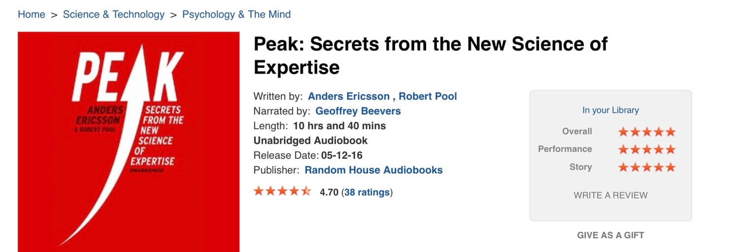 Peak by Anders Ericsson - (audio) book of the week