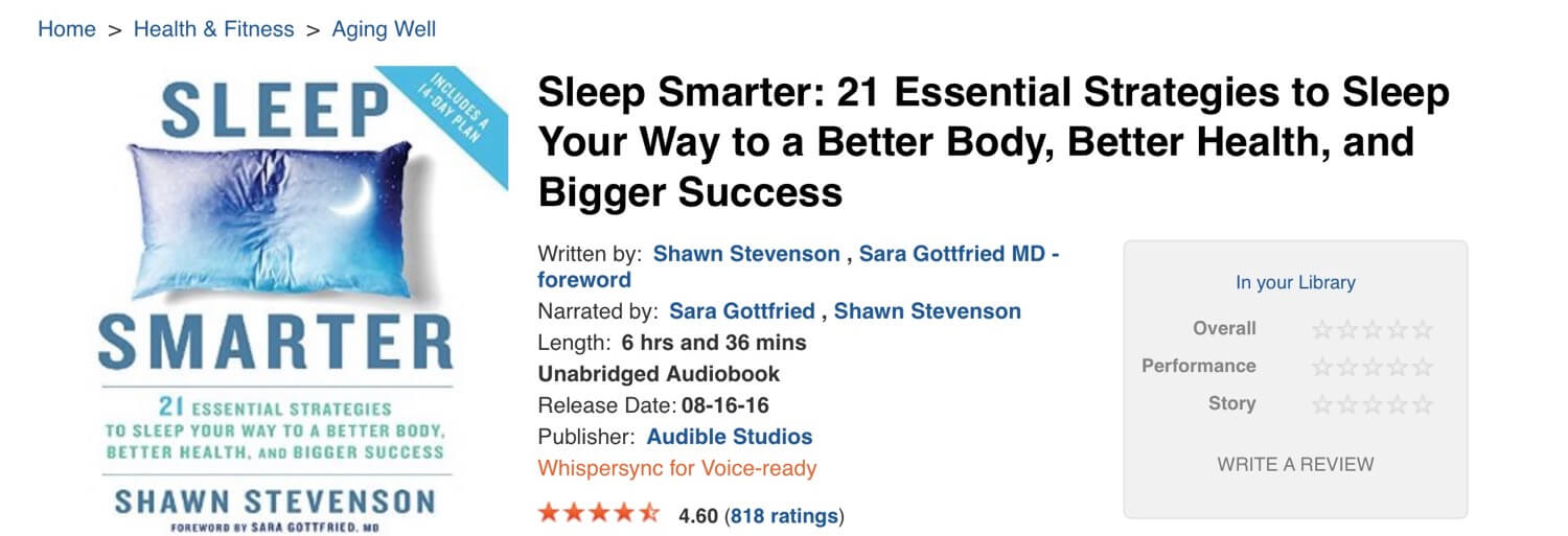 Sleep Smarter by Shawn Stevenson - (audio) book of the week